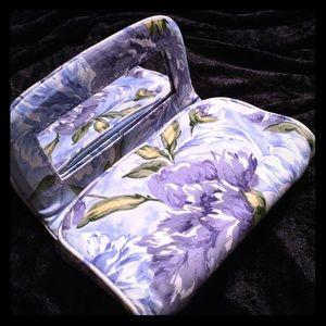 Accessories - MakeUp Case💄💋w/Mirror Blue Purple Floral Cloth